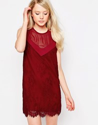 Jovonna Rogers Shift Dress With Lace Overlay Wine Red
