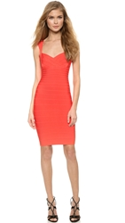 Herve Leger Abrielle Dress Coral Red