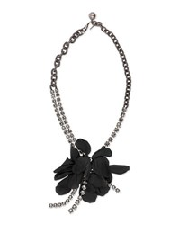 Lanvin Short Flower Chain Necklace Black