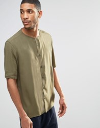 Asos Collarless Shirt In Khaki With Half Sleeve In Regular Fit Khaki Green