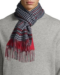 Johnstons Men's Reversible Gingham Solid Cashmere Scarf Red