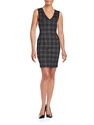 Saks Fifth Avenue Red Sleeveless Plaid Bodycon Dress