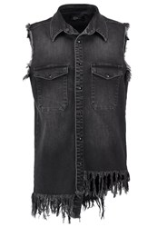 Un Jean Cannes Waistcoat Almost Black Grey Denim