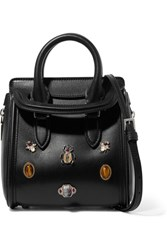 Alexander Mcqueen The Heroine Mini Embellished Leather Tote Black