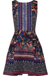 Saloni Jess Printed Cloque Mini Dress Purple