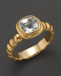 John Hardy Batu Bedeg 18K Yellow Gold Square Station Slim Band Ring With White Topaz Yellow Gold White