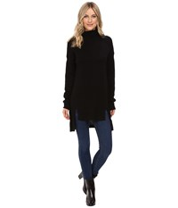 Christin Michaels Madeline High Low Turtleneck Cashmere Sweater Black Women's Sweater