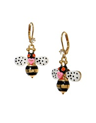 Betsey Johnson Bumble Bee Drop Earrings Multi
