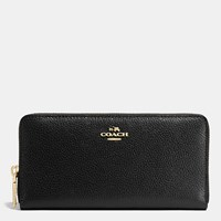 Coach Accordion Zip Wallet In Pebble Leather Light Gold Black