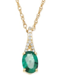 Macy's Emerald 7 8 Ct. T.W. And Diamond Accent Pendant Necklace In 10K Gold