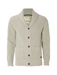 White Stuff Men's Wallis Shawl Rib Cardigan Knit Light Grey