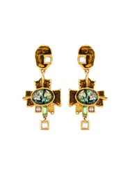 Christian Lacroix Vintage Large Cross Drop Earrings Metallic
