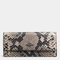 Coach Soft Wallet In Python Embossed Leather Dark Gunmetal Natural
