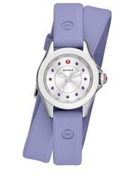 Michele Cape Mini Lavender Topaz Stainless Steel And Silicone Double Wrap Strap Watch Lavender Purple Silver