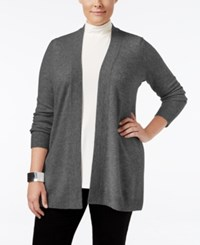 Charter Club Plus Size Cashmere Duster Cardigan Only At Macy's Heather Cinder