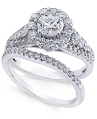 Macy's Diamond Halo Bridal Set 1 3 4 Ct. T.W. In 14K White Gold