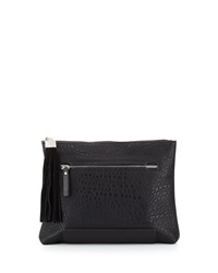French Connection Camden Suede Tassel Clutch Bag Black Blac