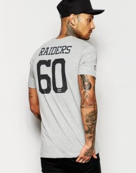 New Era Nfl T Shirt With Raiders Back Print Gray