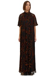 Roksanda Ilincic Dalby Long Pleated Devore Dress Black