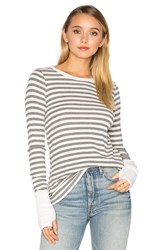 Michael Stars Striped Thermal Long Sleeve With Thumbholes Gray