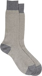 Barneys New York Men's Herringbone Rib Knit Mid Calf Socks Grey