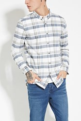 Forever 21 Tartan Plaid Cotton Shirt Cream Navy