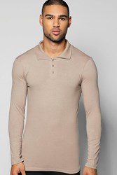 Boohoo Sleeve Muscle Fit Polo In Jersey Taupe