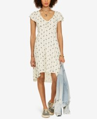 Denim And Supply Ralph Lauren Floral Print Fit Flare Dress Floral Blue