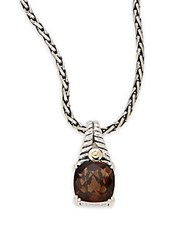 Effy Smoky Quartz Sterling Silver And 18K Yellow Gold Square Pendant Necklace