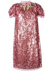 Dolce And Gabbana Sequinned Embellished Dress Pink Purple