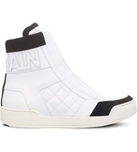 Balmain Logo Cuff Leather High Top Trainers White