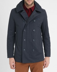 Lacoste Navy Patch Pockets Quilted Hooded Pea Jacket