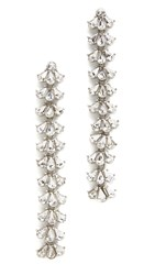 Ben Amun Crystal Cluster Duster Earrings Clear Silver