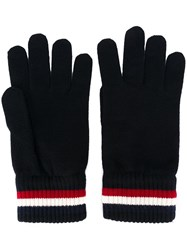 Moncler Striped Trim Gloves Blue
