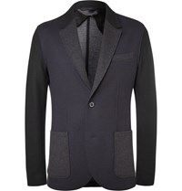 Lanvin Navy Slim Fit Virgin Wool Blend Blazer Blue