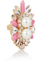 Shourouk Lady Woolit Gold Plated Swarovski Pearl And Crystal Ring Pink