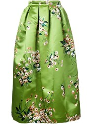 Rochas Floral Print Full Skirt Green