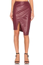 Blaque Label Asymmetrical Leather Skirt Maroon