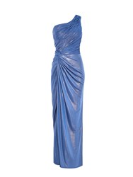 Anoushka G Alara Glitter One Shoulder Maxi Dress Blue