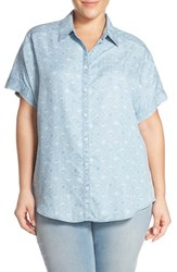 Plus Size Women's Foxcroft Geometric Print Short Sleeve Chambray Shirt