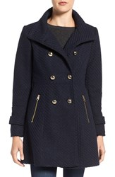 Jessica Simpson Women's Fit And Flare Officers Coat Navy