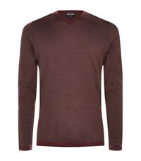 Giorgio Armani Contrast Trim Wool Sweater Male Burgundy