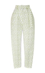 Delpozo Textured High Waisted Trousers White Green