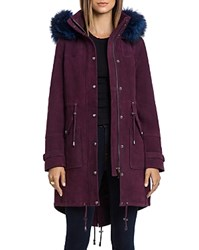 Bagatelle. City Hooded Suede Parka With Fur Trim Chianti