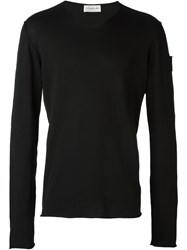 Isabel Benenato Bordered Neck Jumper Black