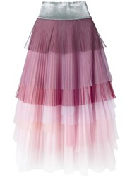 Daizy Shely Layered Pleated Skirt Pink Purple