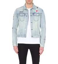 Blk Dnm Badge Detail Denim Jacket Bleach Blue