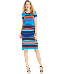 Spense Petite Multi Stripe T Shirt Dress Wide Multi Stripe