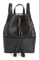 Loeffler Randall Perforated Leather Backpack Black