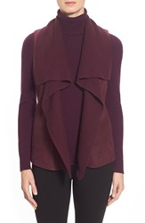 Lafayette 148 New York 'Melosa' Leather And Knit Drape Front Vest Roselle